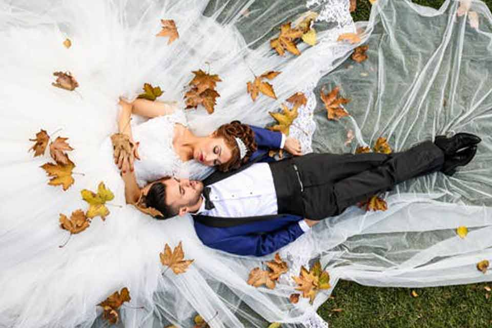 aerial shot of Mexican bride and groom